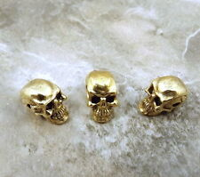 3 Gold Tone Pewter 5.5mm SKULL Beads with Horizontal Hole - 5064