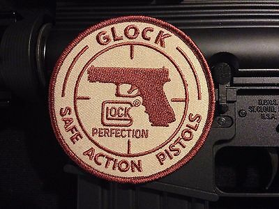 GLOCK COYOTE TAN/FDE SAFE ACTION PISTOLS LOGO PATCH  PERFECTION 9MM .40 45