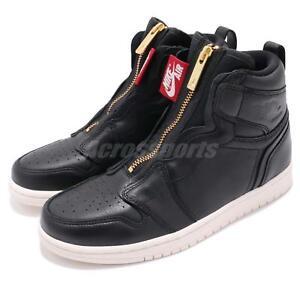 Nike Wmns Air Jordan 1 High Zip Up Leather Black University Red ... bc6faa222