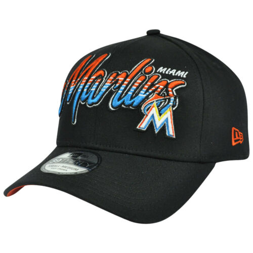 MLB New Era 39Thirty S/M Miami Marlins Dub Ton Schrift Stretch Flexible Passform Baseball & Softball
