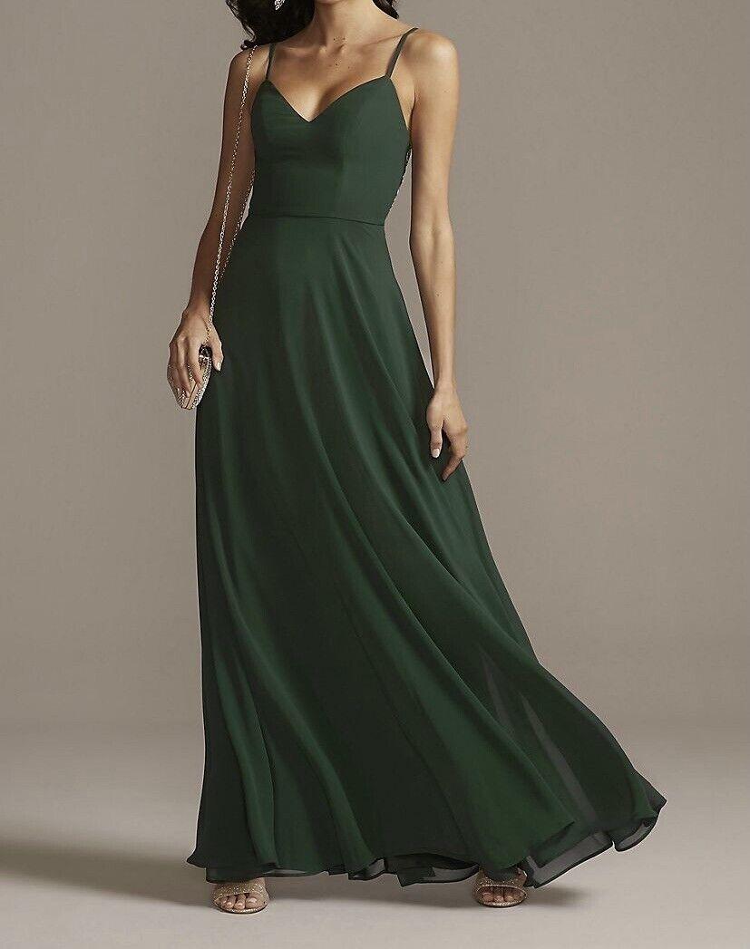 David's Bridal Speechless Corded Lace Back Dress w/ Chiffon Overlay Hunter Sz 5