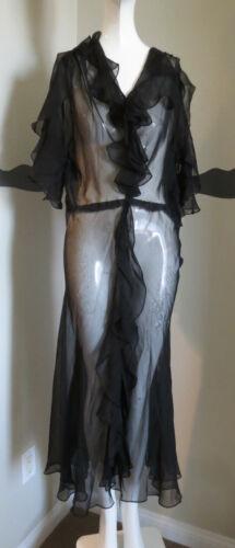 Vintage 1930s Dress Silk Chiffon Ruffles AS IS