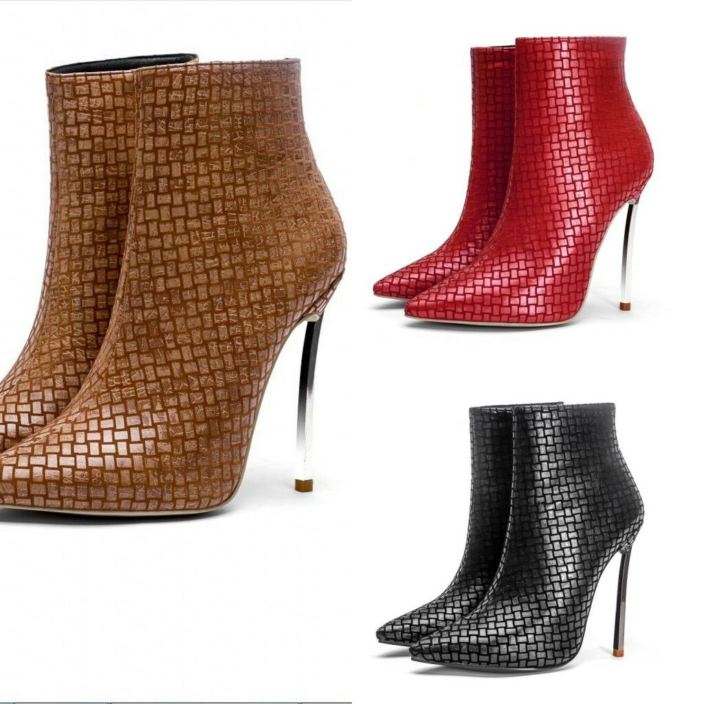 Women Pointy Toe Chic Stilettos High Heels Zipper Ankle Boots Party shoes 8B9