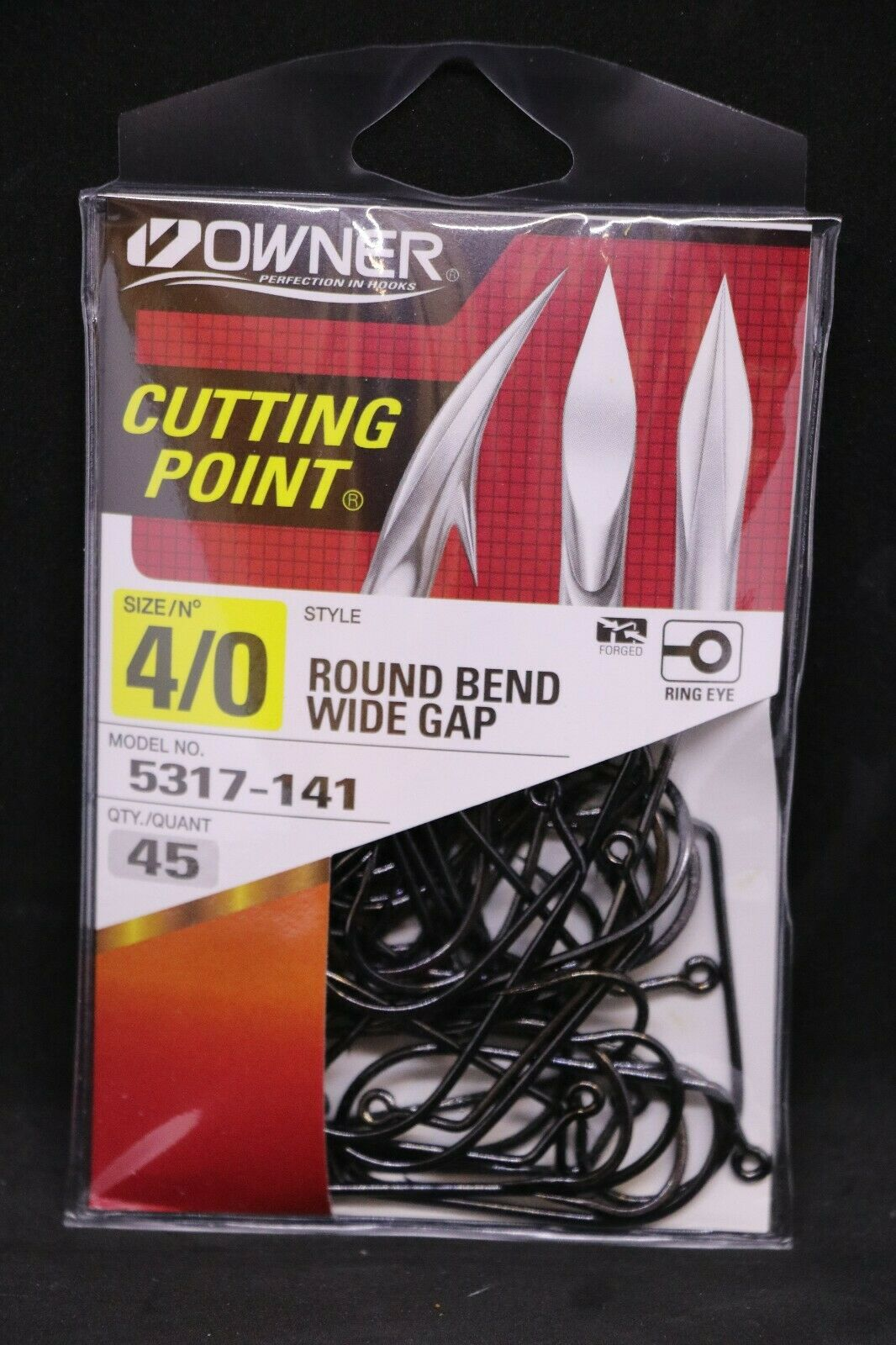 Size 4 Pro Pack of 63 Owner 5317-078 60° Round Bend Wide Gap Jig Hooks