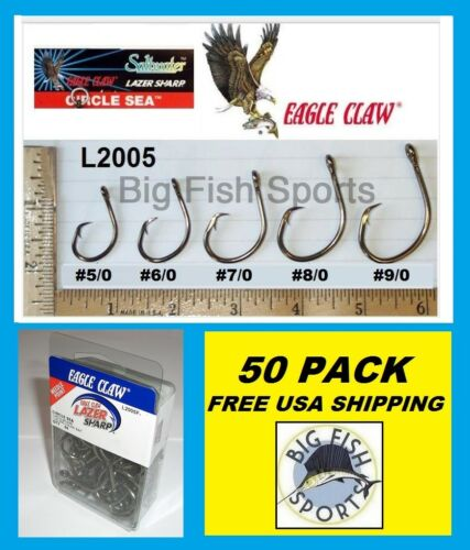 50 Eagle Claw Circle Sea Saltwater Fishing Hooks 9/0 Taille #L2005F Free USA NAVIRE!