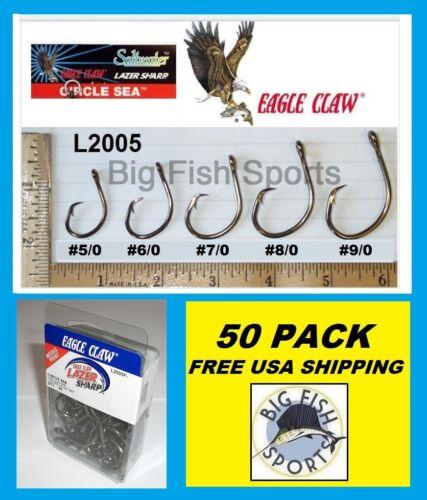 50 EAGLE CLAW CIRCLE SEA Saltwater Fishing Hooks 9//0 SZ #L2005F FREE USA SHIP!