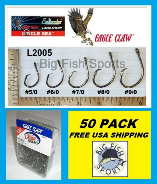 Ringed Circle Hooks Eagle Claw 7//0 L2005-20 pack FREE FREIGHT