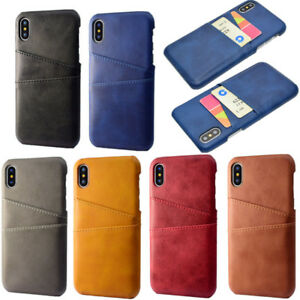 For iPhone X XS Max 6 7 8 Plus Leather Wallet Card Pocket Holder Slim Case Cover