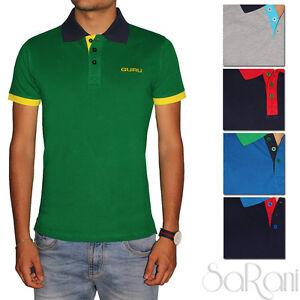 Polo-Uomo-GURU-Sport-Cotone-Maniche-Corte-Colletto-T-Shirt-Vari-Colori-SARANI