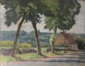 Summer-Landscape-with-House-Marie-LAVERGNE-Painter-32-x-41-cm-Impressionist