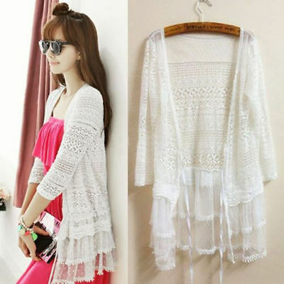 Gypsy Peasant Hollow Lace 3/4 Sleeve Peplum Cardigan Coat Jacket Blouse Tops