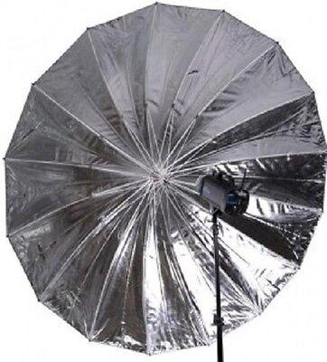 "72"" Silver Black Reflective Parabolic Umbrella 16 Fiberglass Rib 7mm Shaft"