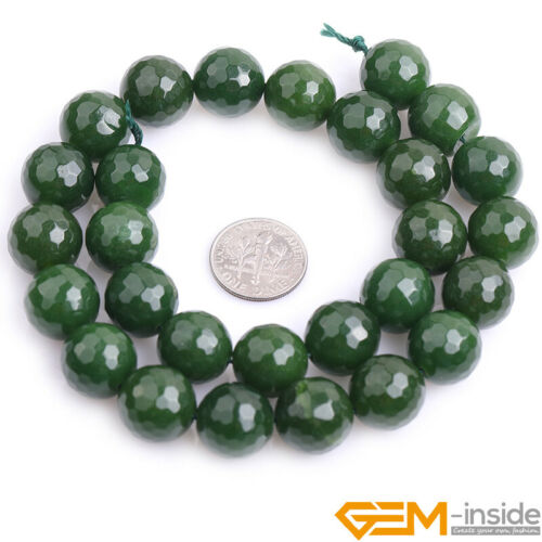 """Assorted Color 14mm Jade Faceted Loose Beads for Jewelry Making 15/"""" Round Gems"""