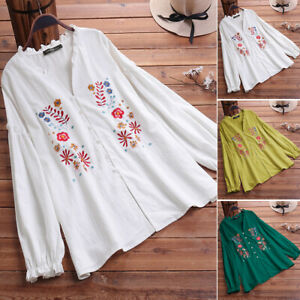 UK-Womens-Casual-Loose-Long-Sleeve-Floral-Embroidery-Shirt-Tunic-Top-Blouse-Plus