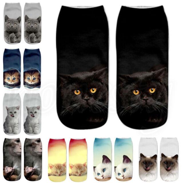 Fashion 3D Harajuku Cat Printed Women Casual Socks Unisex Low Cut Ankle Socks