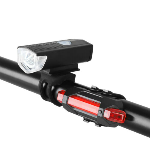 USB Rechargeable Bicycle Light Water Resistant Cycle Head and Tail LED Light 2PC