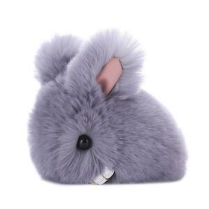 Pompon-Keyring-Rabbit-Fur-Fluffy-Car-Accessories-Bunny-Keychain-Pendant