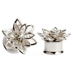 Crystal-Flower-Gauges-Screw-Ear-Tunnel-Plugs-Piercing-Expander-Ear-Reamer