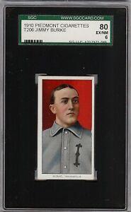 Rare 1909-11 T206 Jimmy Burke Piedmont 350 Indianapolis ML SGC 80 / 6 EX - NM