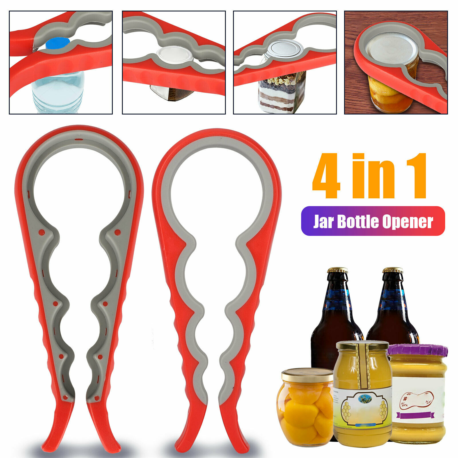 Bottle and Jar Opener Grippers Easy Twist 6in1 Handy Multi Tool Kitchen Opener