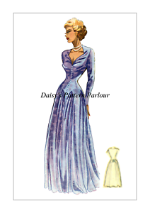 1940s-Vintage-Sewing-Pattern-Formal-Evening-Gown-Ball-Bridal-Prom-Coupe-Daisys