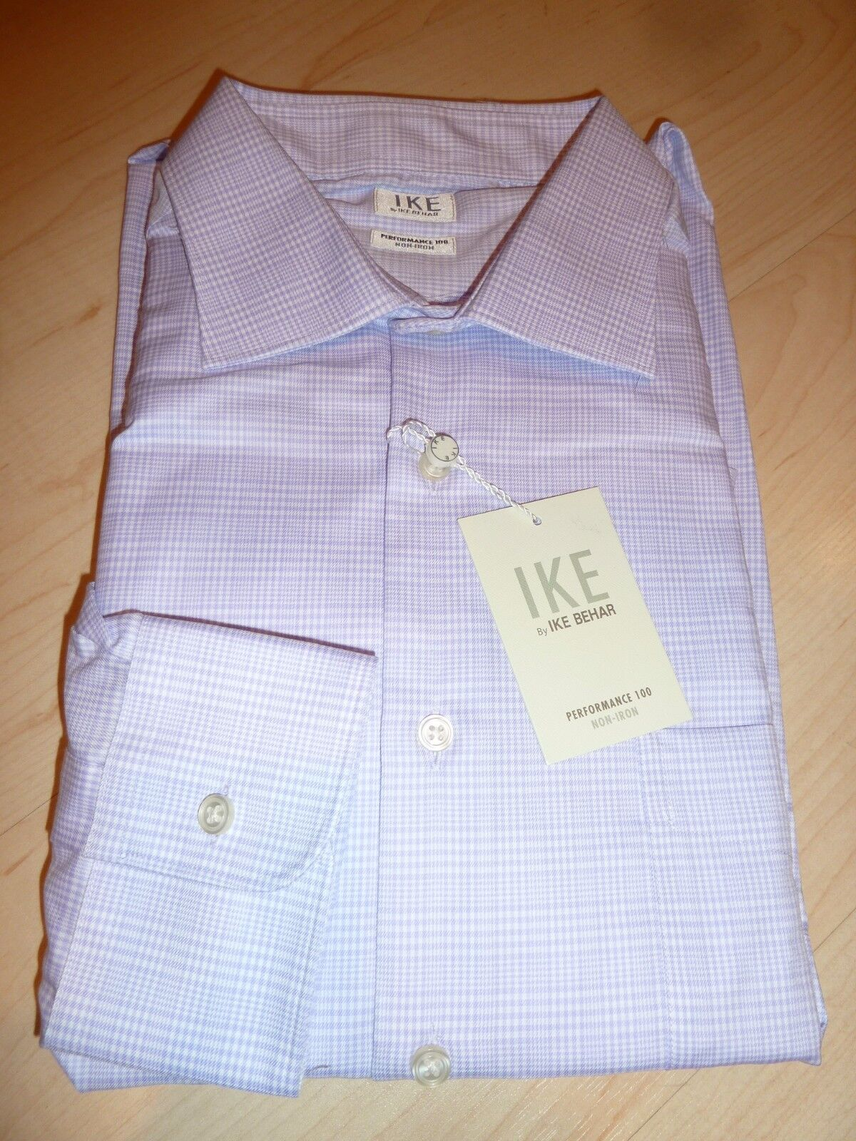 NEW  190 IKE BEHAR MENS SHIRT Sz 16 34 Non-Iron Performance ice lilac BC