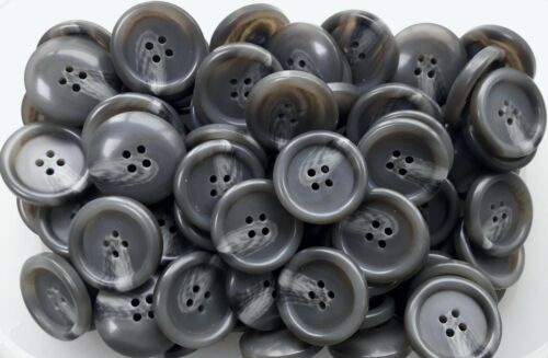 Large 34mm 54L Charcoal Grey Warm Grey Swirl 4 Hole Coat Jacket Buttons Q784