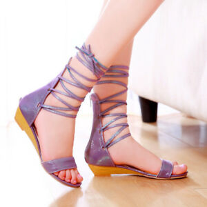 Pop-Womens-Lace-Up-Flat-Ankle-Tie-Wrap-Ladies-Strappy-Gladiator-Sandals-Shoes