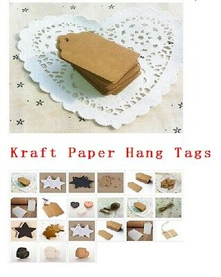 100pcs BLANK Brown Kraft Paper Hang Tags w//String Punch Label Price Gift Card JX