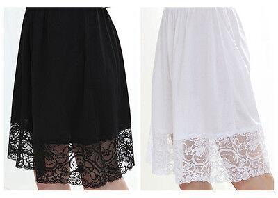 "Women's 19"" VISCOSE Rayon Lace Slip Intimate Skirt Slip Petticoat Black White"