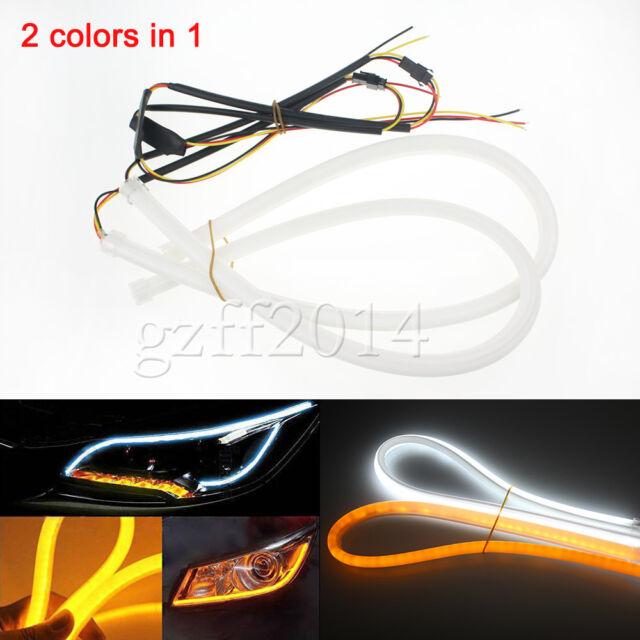 pair 60cm Switchback Headlight LED Strip DRL Daytime Light For Audi-Style Tube