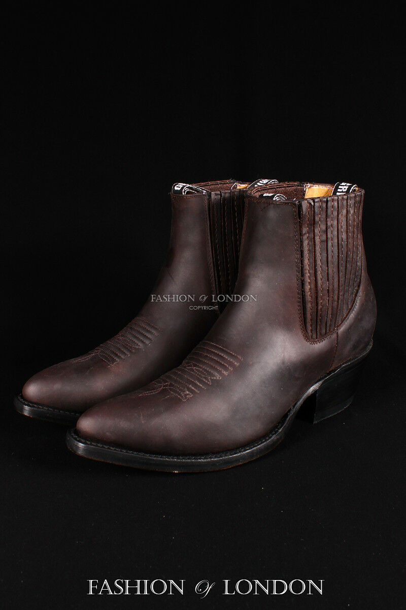 Men's GRINDERS MAVERICK Brown Cowboy Western Slip-On Leather Ankle Boots shoes