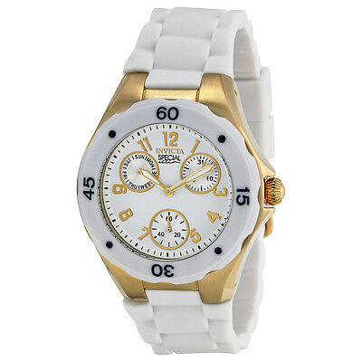 Invicta Angel Multi-Function White Sunray Dial White Silicone Ladies Watch 18796