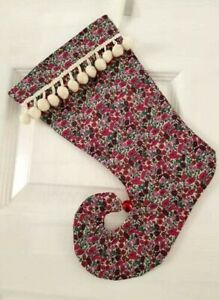 Liberty Fabric Elf Christmas Stocking Pink Purple Petal Bud Jingle Bell Ebay