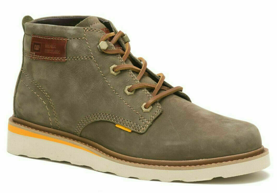 Caterpillar Jackson Mid Mens Green Biker Riding Lace Up Ankle Boots