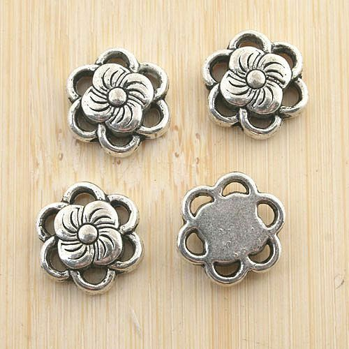 12pcs antiqued silver tone flower spacer beads G1167