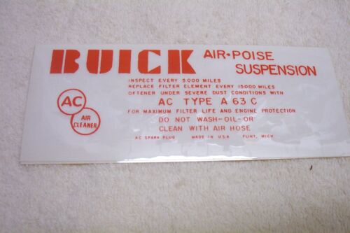1958 Buick A//C Air Cleaner 4V,Air Poise Susp Decal,NEW
