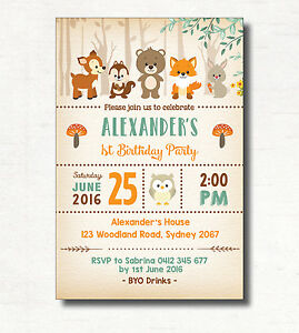 Woodland Birthday Invitation Rustic Forest Animal Party Invite All