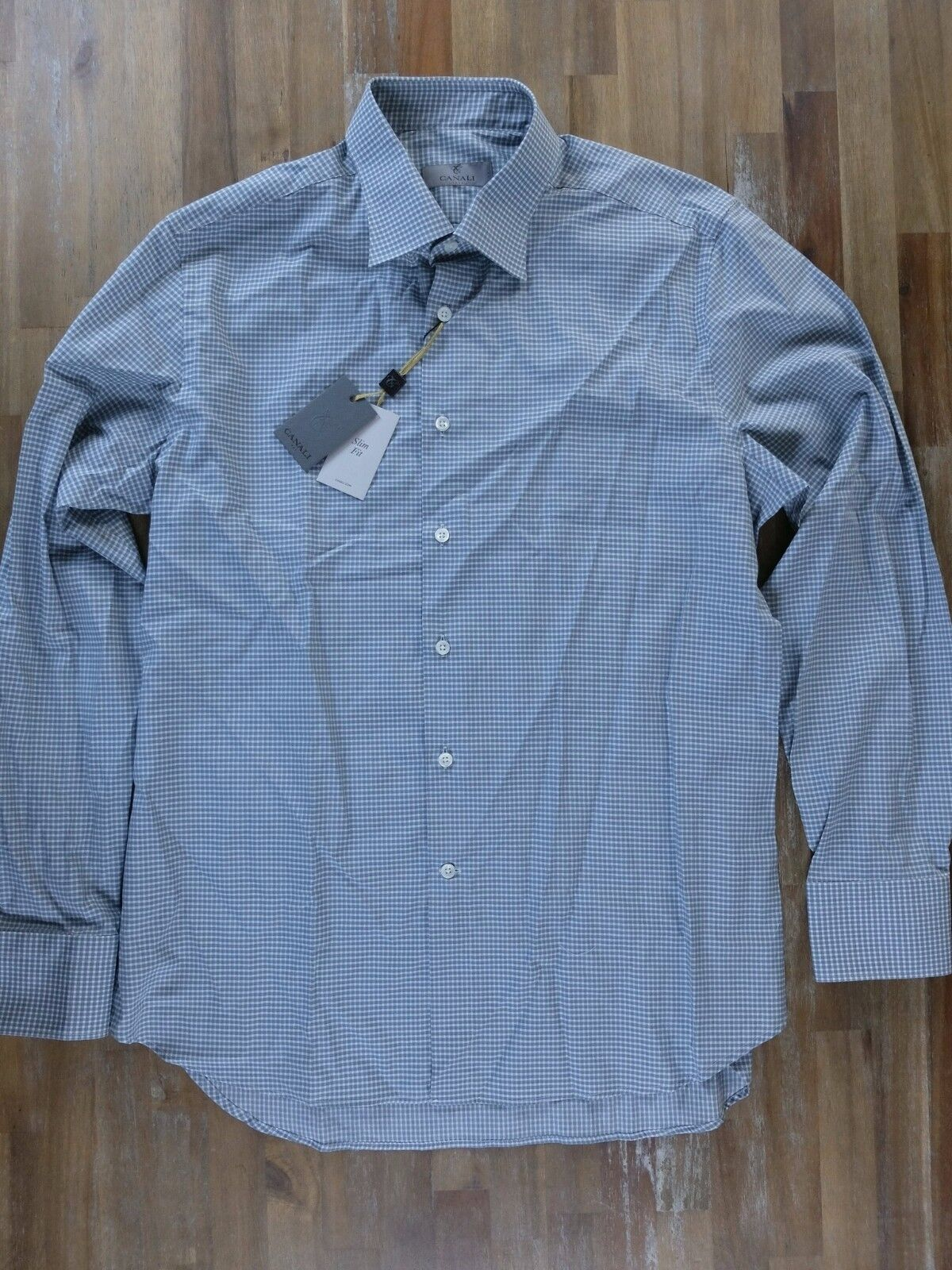 2ee8f20f5 CANALI slim-fit plaid cotton shirt authentic - 43 - NWT 17 Size ...