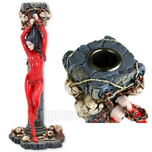 ANDROMEDA-CHAINED-GOTHIC-LADY-CANDLE-HOLDER-FANTASY-SKULLS-27-5CM-BRAND-NEW