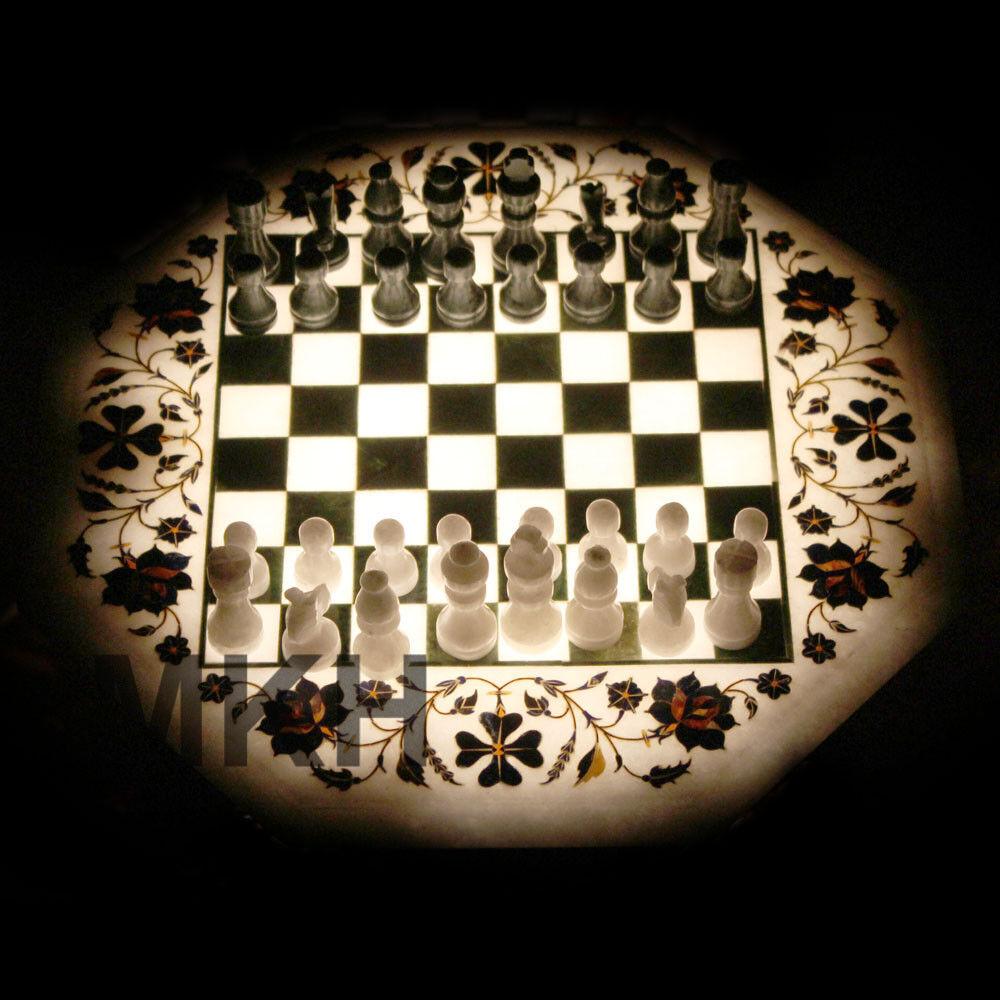 Marble Chess Board Inlay Inlay Inlay Semprecious Stones Coffee Table Top Pietra Dura Vintage 9dfa16