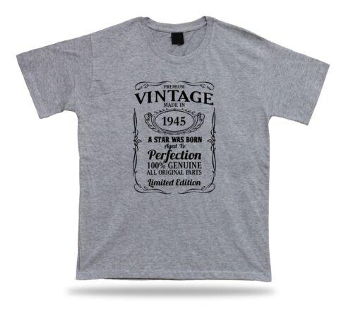 Printed T shirt tee star is born 1945 happy birthday present gift idea original