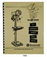 Walker Turner 17 Variable Speed Drill Press Operator Amp Parts List Manual 1924