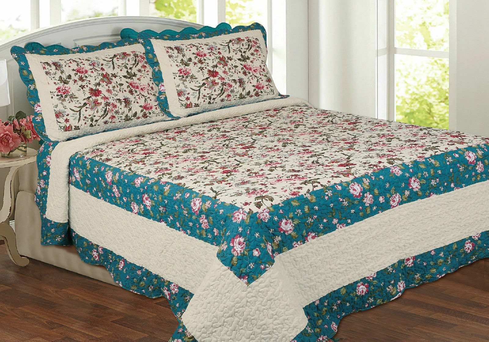 New  Cream Teal Blau Floral Country Cottage Beautiful Quilted Bedspread Throw