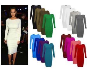 RSVH-WLBC-Ladies-Womens-Long-Sleeve-Stretch-Bodycon-Plain-Midi-Maxi-Dress