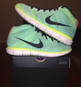 100% authentic f8ee4 6df1e Image is loading Nike-Flyknit-Chukka-Green-Yellow-High-Top-Running-