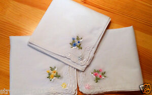 NEW LOT 6//12 PCS LACE Embroidered  LADIES COTTON VINTAGE INSPIRED HANDKERCHIEFS