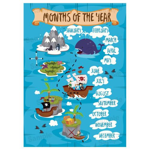 Pirates thème Educational Tableaux Muraux Mois de l/'année Poster Filles Enfant