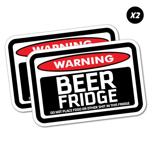 2x warning beer fridge sticker funny car stickers novelty decals 5925e ebay