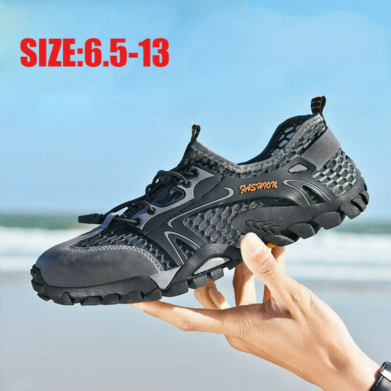 Mens Large Size Outdoor Hiking Sneakers Breathable Casual Non-slip Wading Shoes